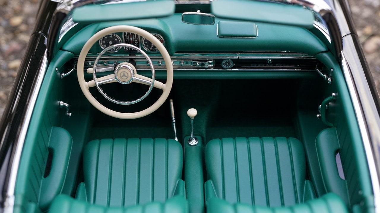 Green vinatge car interior